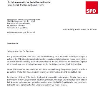 Offener Brief An Die Oberbürgermeisterin Der Stadt Brandenburg Spd